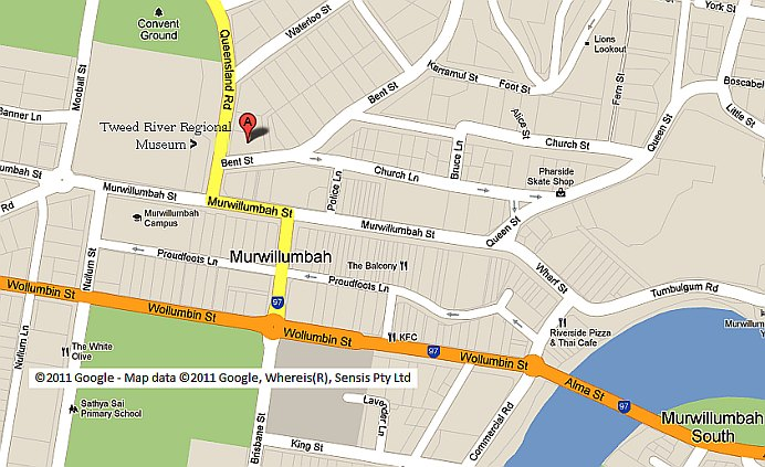 Location of Murwillumbah Historical Society/Tweed River Regional Museum, as indicated on Google Maps